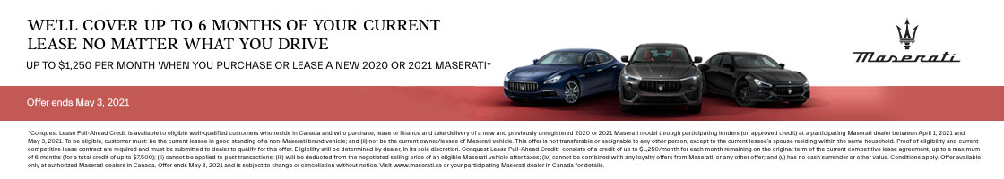 2020 Maserati and 2021 Maserati Conquest Lease Pull-Ahead Promotional Banner