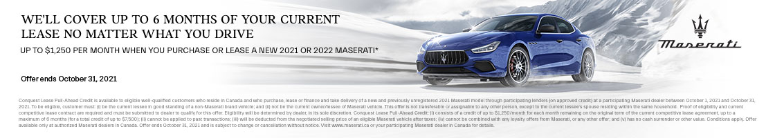 2021 and 2022 Maserati Conquest Lease Pull-Ahead Promotional Banner