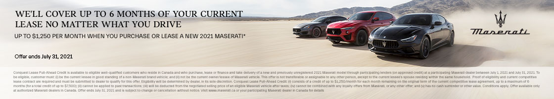 2021 Maserati Conquest Lease Pull-Ahead Promotional Banner